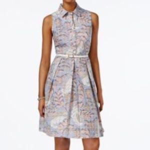 Nine West - Box Pleated Fit & Flare Shirt Dress